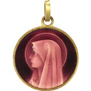 French Our Lady Enamel Gold Plated Medal