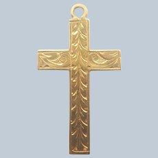 English Victorian 9K Gold Engraved Cross Pendant