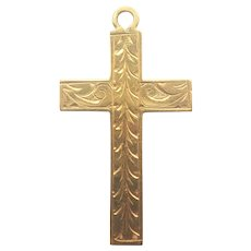 English Victorian 9K Gold Engraved Cross Pendant