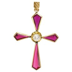 Ruby and Spinel Cross Pendant on 9K Gold