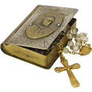 French Art Deco Crystal Glass Rosary in Pope Pius X11 Brass Box