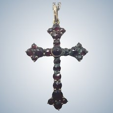 Bohemian Garnet Cross Pendant with French Silver Chain