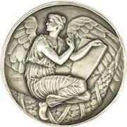 French Art Deco Large Silvered Bronze Angel Medal - E FRAISSE