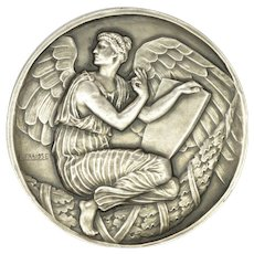 French Art Deco Large Silvered Bronze Angel Medal - E FRAISSE