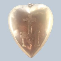 French 1862 Large Heart Ex-Voto Gilt Brass Pendant