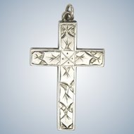 English 1901 Sterling Silver Engraved Cross