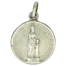 French Siver St Anne of Auray Small Medal or Charm