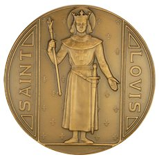 French Large and Heavy  Saint Louis Bronze  Medal signed P LENOIR