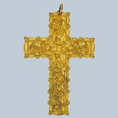 Victorian Large Embellished 18K Plated or Pinchbeck Cross Pendant