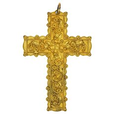 Victorian Large Embellished 18K Plated or Pinchbeck Cross Pendant