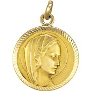 French Gold Filled Virgin Mary Medal or Charm - MURAT