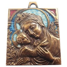 French Madonna and Child Bronze Enamel Plaque - PIECHAUD