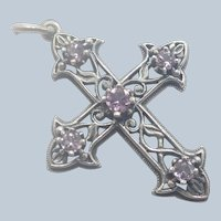 Sterling Silver and Amethyst Pierced Cross Pendant