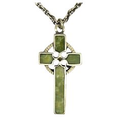 Sterling Silver Celtic Cross with Connemara Marble and Chain