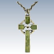 Sterling Silver Celtic Cross with Irish Connemara Marble and Chain