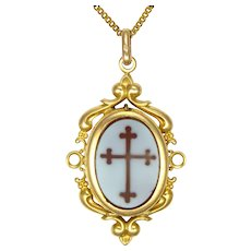 French 18K Gold Filled Glass Cross Reliquary/Locket Necklace