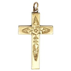 Victorian 9K Gold Small Box Shape Engraved Cross Pendant