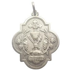 French Antique Silver Communion Medal - Gothic Shape