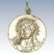 French Silver Plated Medal -  Jesus with Crown of Thorns - Desvergnes
