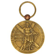 French St Andrew and St John the Baptist Bronze Medal by RUFFONY