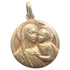 French Art Deco Gold Washed Silver Virgin and Child Medal