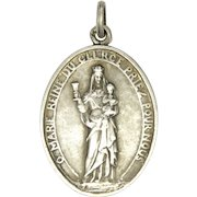 French Silver Virgin and Child Communion Medal Pendant