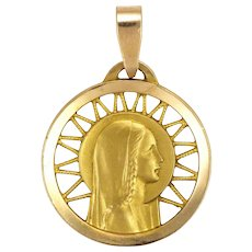 French 18K Gold Filled Virgin Mary Medal Pendant - FIX