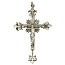 French Antique Silver Pectoral Crucifix