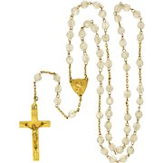 French Art Deco 18K Gold Filled Crystal Glass Bead Rosary - ORIA
