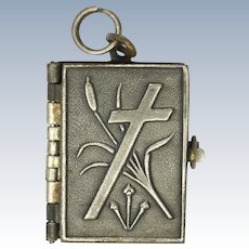 French Silver Plated Stations of the Cross Book Pendant
