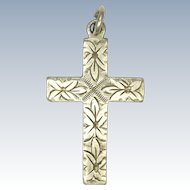 English Vintage Small Engraved Cross Pendant