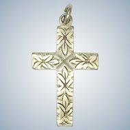 English Vintage Small Engraved Cross Pendant