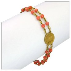 French Dizainier Rosary Gold Filled Coral Glass Bracelet - FIX