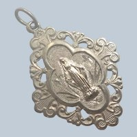 French Antique Silver and Gold Virgin Mary Medal