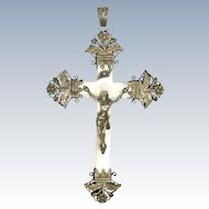 French Victorian Silver and Mother of Pearl Crucifix