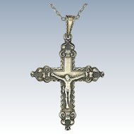 Norwegian HESTENES Circa 1910  830 Silver Crucifix and Chain