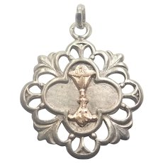 French Antique Silver and Gold Challice Communion Medal