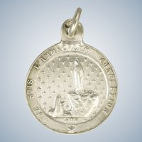 French Silver Pilgrimage to Lourdes Souvenir Medal or Charm