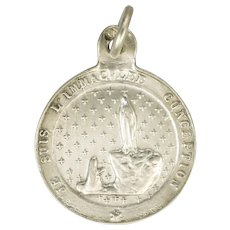 French Silver Pilgimage to Lourdes Souvenir Medal or Charm