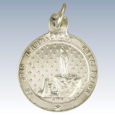 French Silver Pilgimage to Lourdes Souvenir Medal or Charm