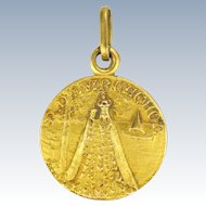 French Gold Filled 'Our Lady of Arcachon' Medal or Charm - GICAR