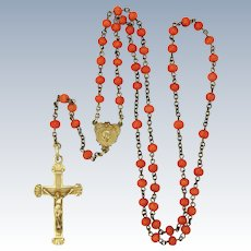 French Art Deco Coral Rosary with Silver Centre and Crucifix