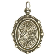 French Antique Silver Souvenir of Lourdes Double Sided Pendant