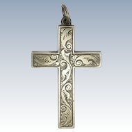 Victorian Sterling Silver Engraved Box Cross