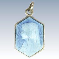 French Art Deco Silver Enamel Virgin Mary Charm