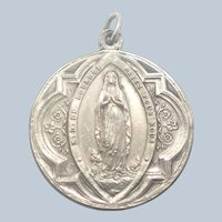 French Antique Silver Large Religious Double Sided Medal