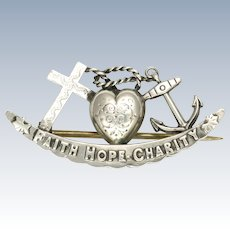 Victorian 1898 Silver 'Faith Hope and Charity' Pin