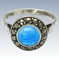 French Silver Enamel and Marcasites Virgin Mary Ring