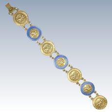 English St Christopher and St George Silver Enamel Bracelet