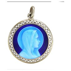French Double Sided Silver Enamel Lourdes Pendant Medal